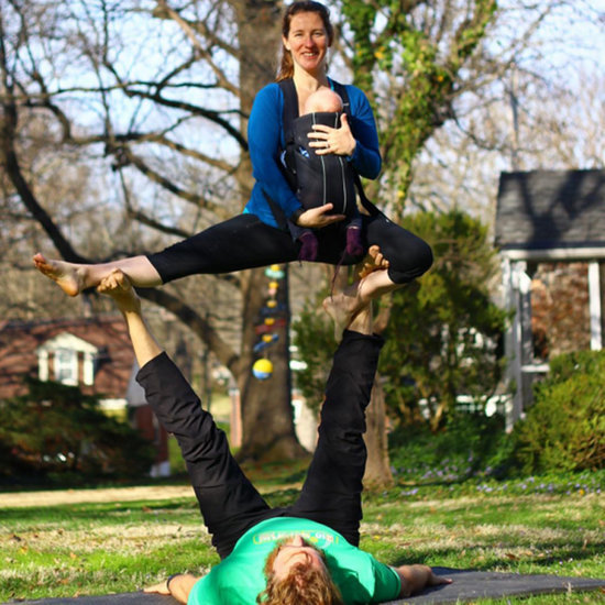 Pregnant Mom and Newborn in Acrobatic Yoga Poses