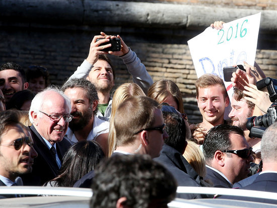 'Rome Is Berning': Bernie Sanders Is Swarmed by Supporters in Vatican City - But Doesn't Get to Meet Pope Francis