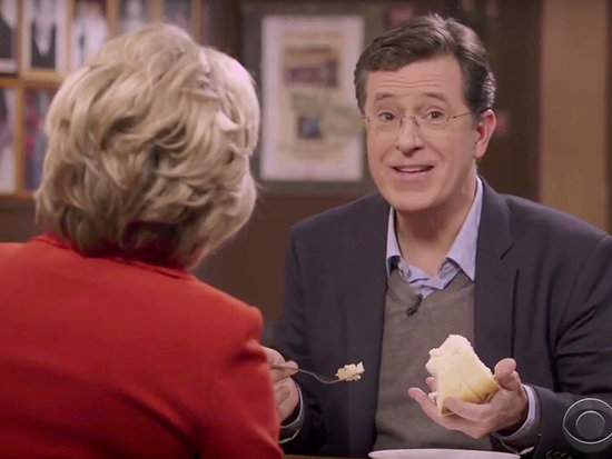 Stephen Colbert Teaches Hillary Clinton How to Properly Eat New York-Style Cheesecake on the Late Show