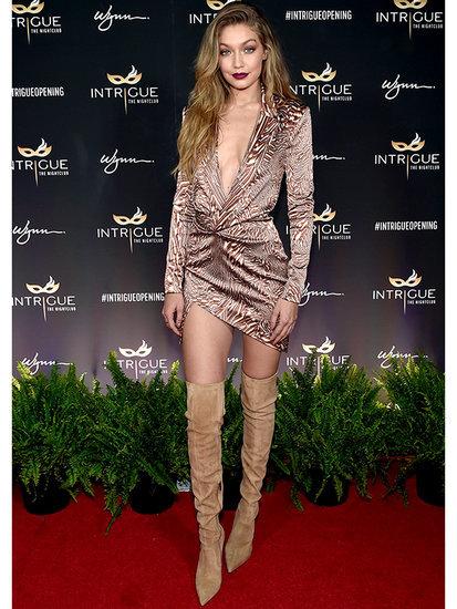 Birthday Babe Gigi Hadid Celebrates 21 (Again) in Vegas-ready Plunging Printed Dress