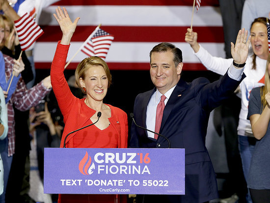 Oops! Carly Fiorina Falls Off Stage at Ted Cruz Rally