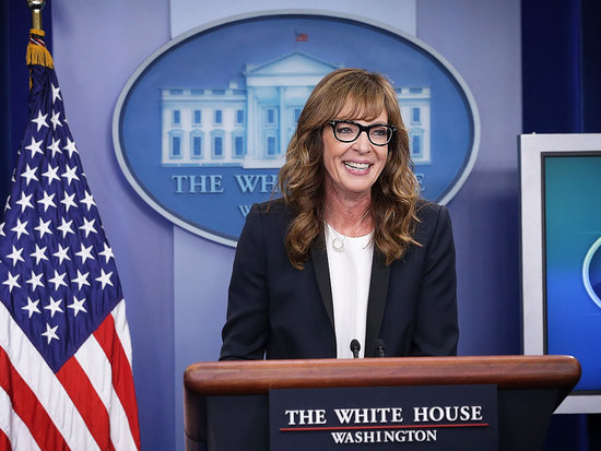 C.J. Cregg Is Back! Allison Janney, Bradley Whitford and James Corden Have a Signature West Wing Walk and Talk