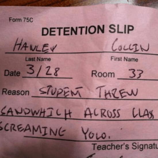 Funny Detention Slips