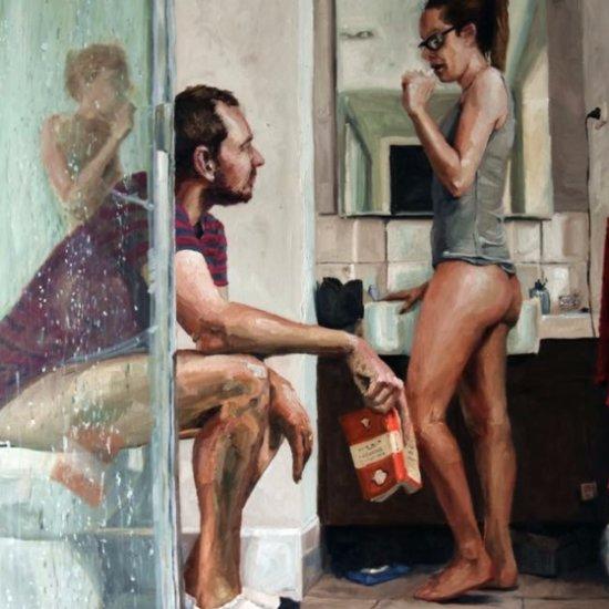 Husband Paints Wife in Bathroom