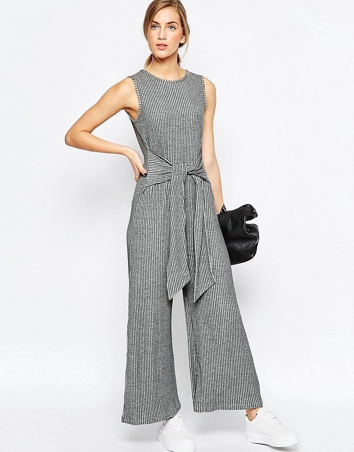 Asos Jersey Jumpsuit in Rib with Tie Waist and Wide Leg ($72)