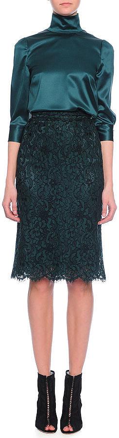 Dolce & Gabbana 3/4-Sleeve Satin Blouse, Emerald ($1,245)
