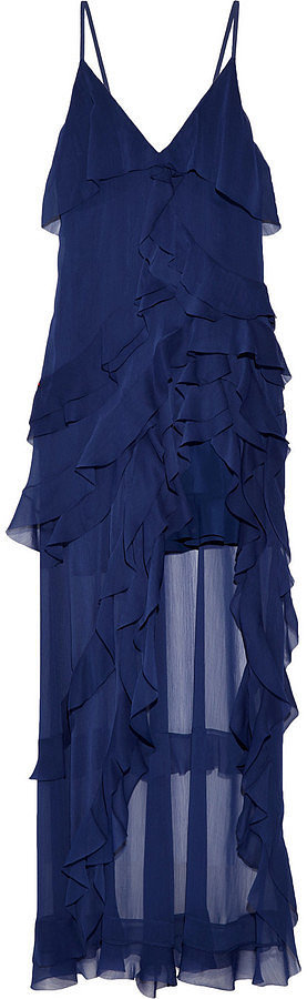 Alice + Olivia Laverne Asymmetric Ruffled Crepon Gown ($700)