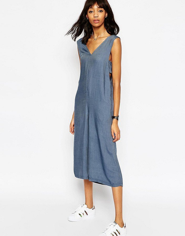 Asos Chambray Jumpsuit with Banded Sides and Culotte Leg ($41)