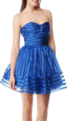 Betsey Johnsons Charmeuse & Striped Organza Dress