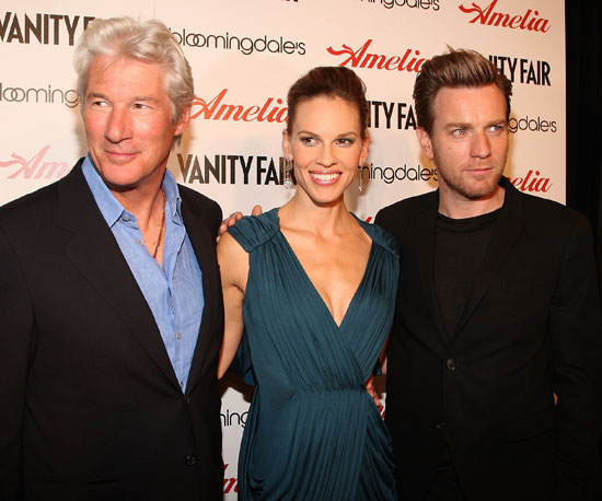 Slide Photo of Richard Gere, Hilary Swank and Ewan McGregor at Amelia Premiere