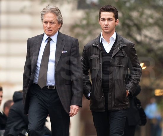 Slide Photo of Shia LaBeouf and Michael Douglas on Set