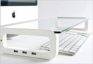 Glass USB Port Desk Shelf
