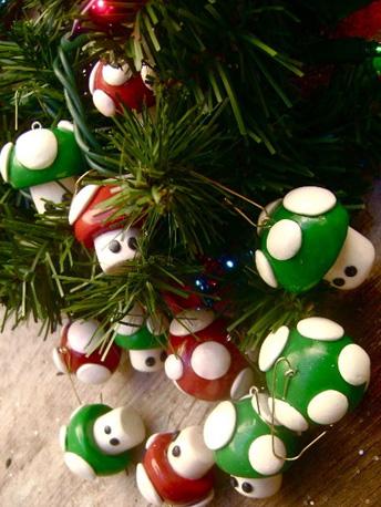Super Mario Mushroom Ornaments ($7)