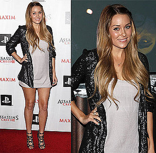 Lauren Conrad Attends an Event in LA Wearing a Black-Sequined Blazer and Jimmy Choo Sandals 2009-11-12 11:15:22
