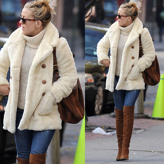 Kate Hudson Wears Ivory Fur Coat and Brown Suede Stuart Weitzman Over the Knee Boots in NYC