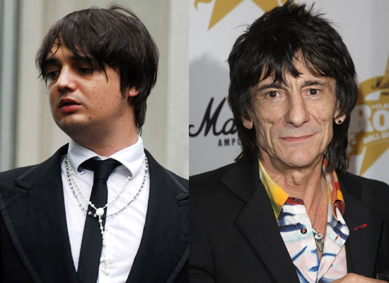 Photos of Pete Doherty Who Has Been Charged With Heroin Possession and Ronnie Wood Who Has Been Cautioned for Common Assault