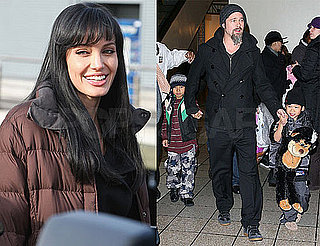 Photos of Angelina Jolie Filming Salt; Brad Pitt With Maddox and Pax at Dave And Busters