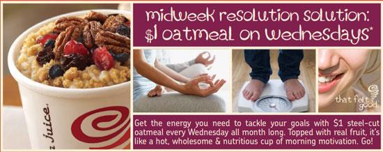 Get $1 Oatmeal on Wednesdays at Jamba Juice