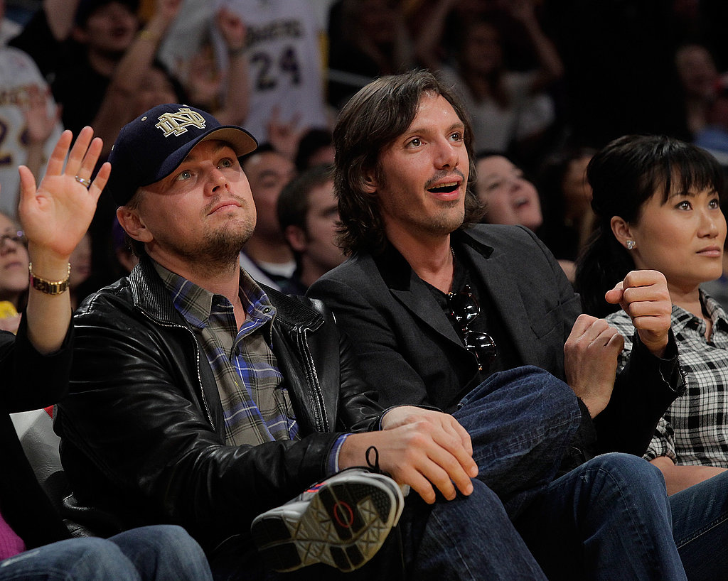 Photos of Ryan Seacrest, Adam Levine, Denzel Washington, Brandon Jennings, Leonardo DiCaprio, and Lukas Haas at a Lakers Game