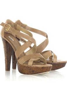 Miu Miu Cross-over Platform Sandals $595 @ Net-a-Porter