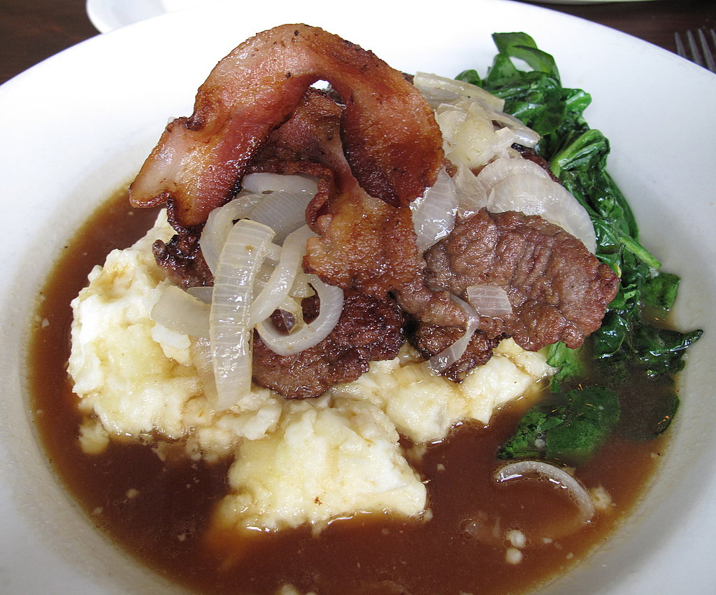 Calf's Liver and Bacon, Spinach, Mashed Potatoes, and Onion Gravy