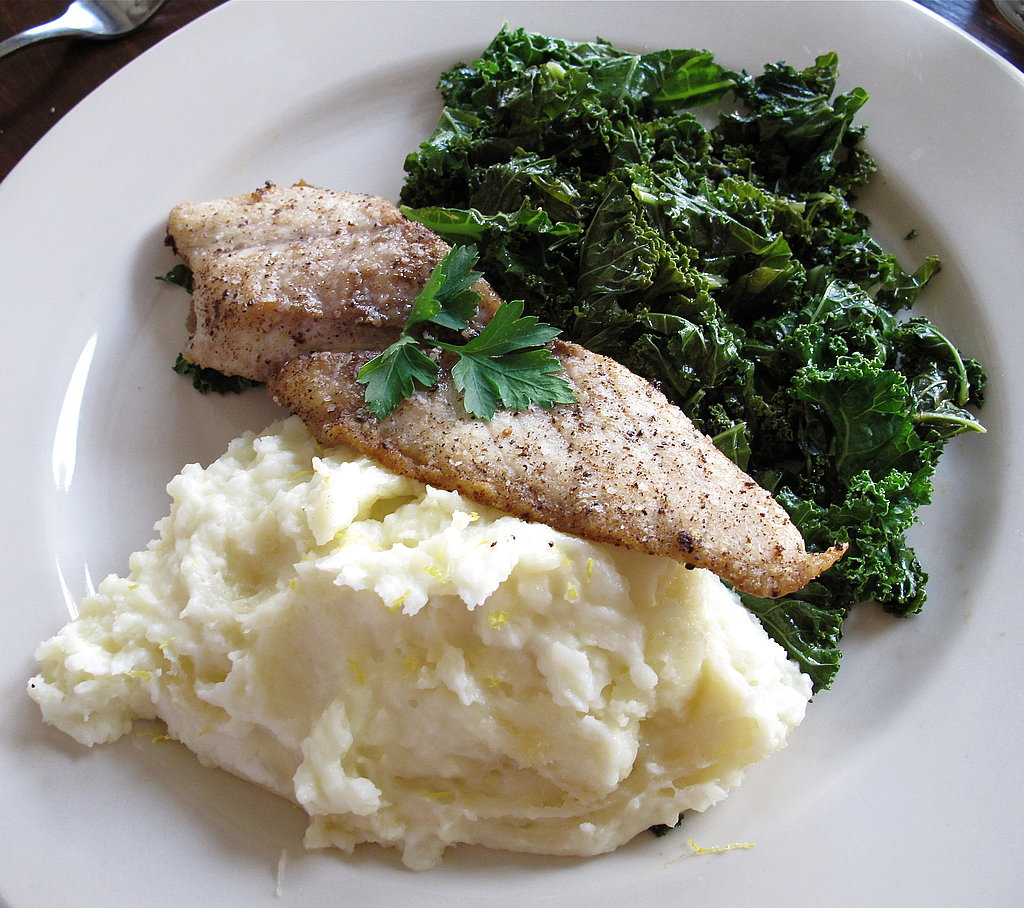 Amberjack, Lemon-Zest Mashed Potatoes, and Sautéed Kale