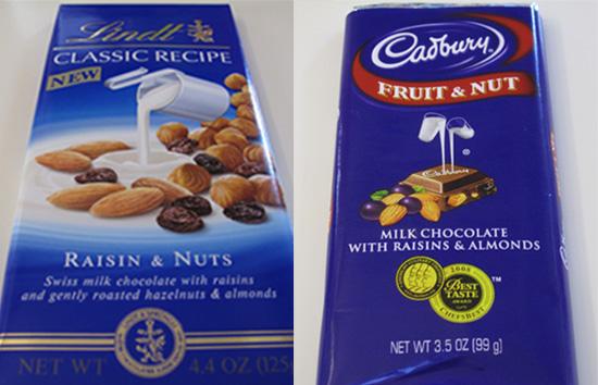Taste Test: Lindt Raisin & Nuts vs. Cadbury Fruit & Nut Bars