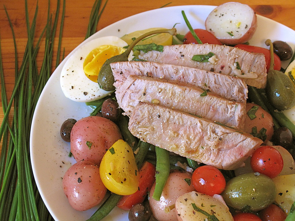 seared tuna with nicoise vegetables and garlic butter the classic ...