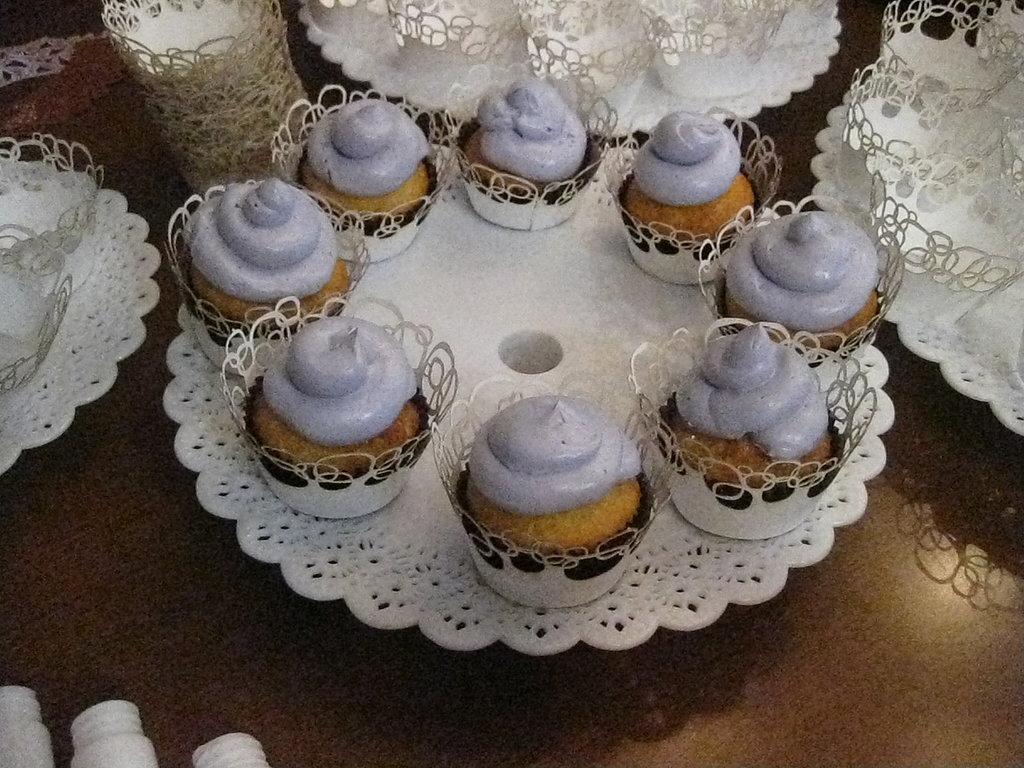 The cupcake tower held 60 cupcakes