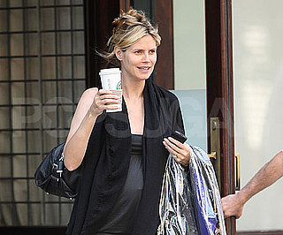 Slide Photo of Heidi Klum Pregnant and Carrying a Coffee