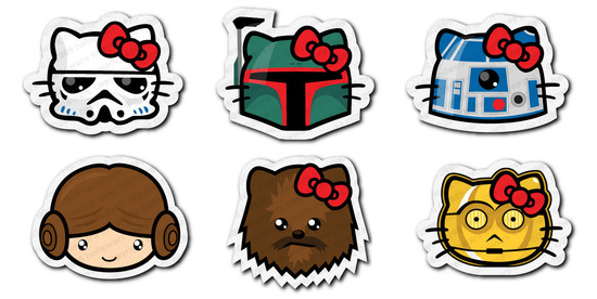 Hello Wars Stickers Are Hello Kitty and Star Wars Combined