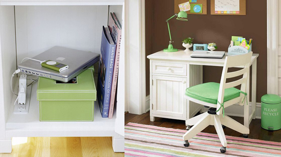 Pottery Barn Beadboard Space Saving Desk Holds a Five Plug Outlet