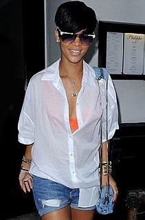 Photo of Rihanna Wearing Orange Bra in NYC