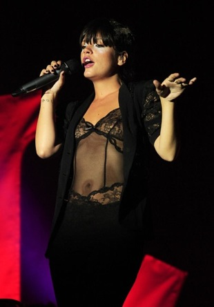 Lily Allen Performs in London Wearing a Black Lace Teddy Lingerie