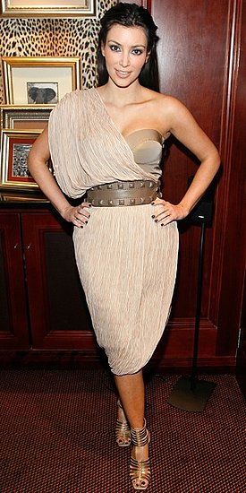 Photo of Kim Kardashian Wearing Metallic One-Shoulder Dress in South Africa