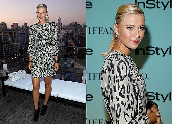 Maria Sharapova Attends Tiffany Party Wearing Chloe Leopard Dress