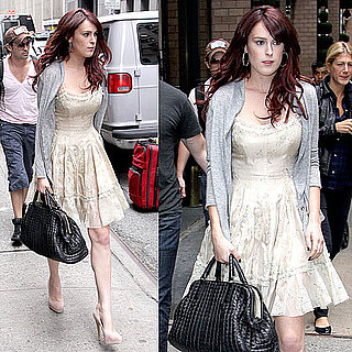 Sorority Row Star Rumer Willis in Manhattan Carrying a Black Bottega Veneta Bag Wearing Sundress