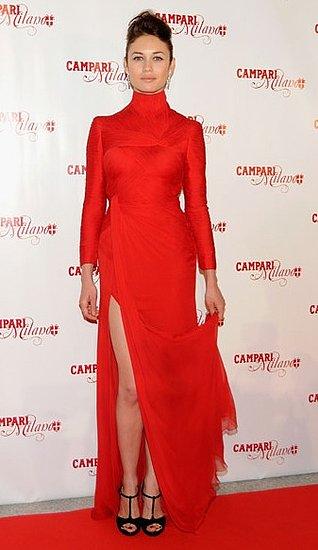 Olga Kurylenko Wears a Long Red Valentino Dress With High Slit