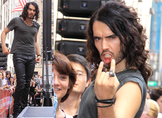 Photos Of Russell Brand At Rockefeller Plaza Rocking Out As Aldous Snow For Get Him To The Greek With Jonah Hill