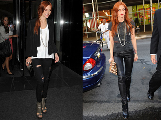 Photos of Ashlee Simpson Wentz in New York Wearing Leather Trousers, Ripped Jeans