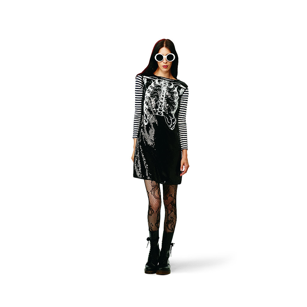 Sequin Rib Cage Dress in black, $49.99 Striped Tee in white/navy, $16.99 Lace Tights in black, $12.99