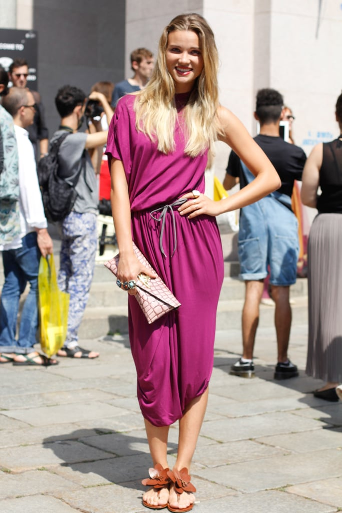 This showgoer got a little Grecian-inspired in a slouchy dress and statement sandals.