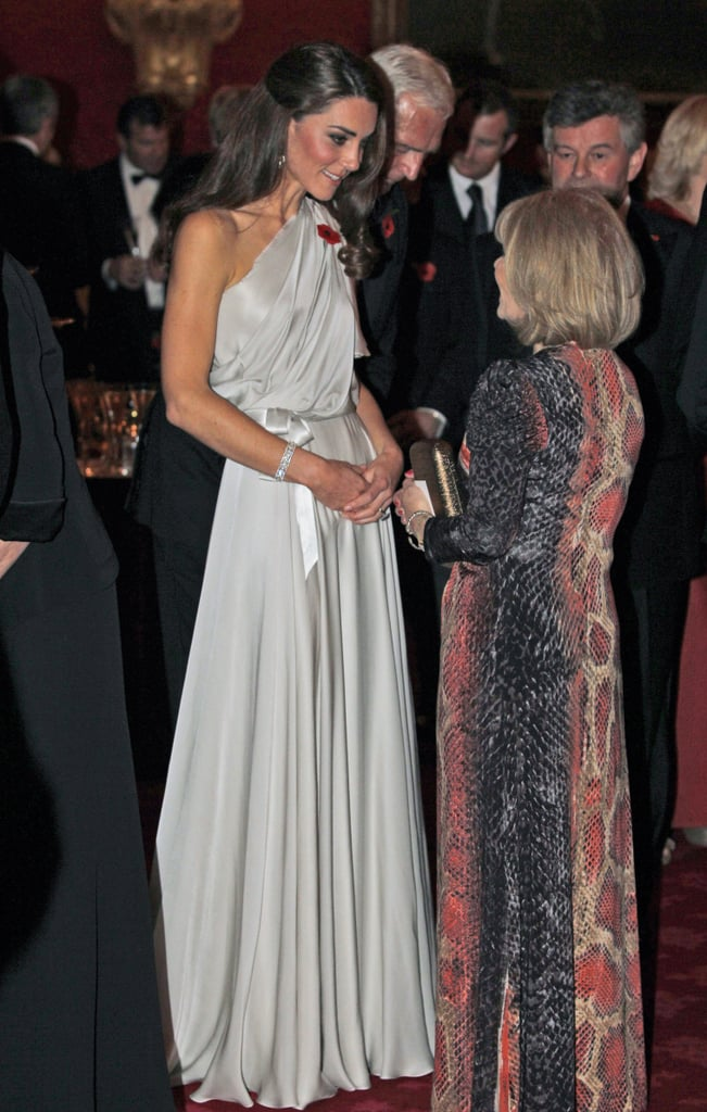Kate Middleton in a long grecian gown.