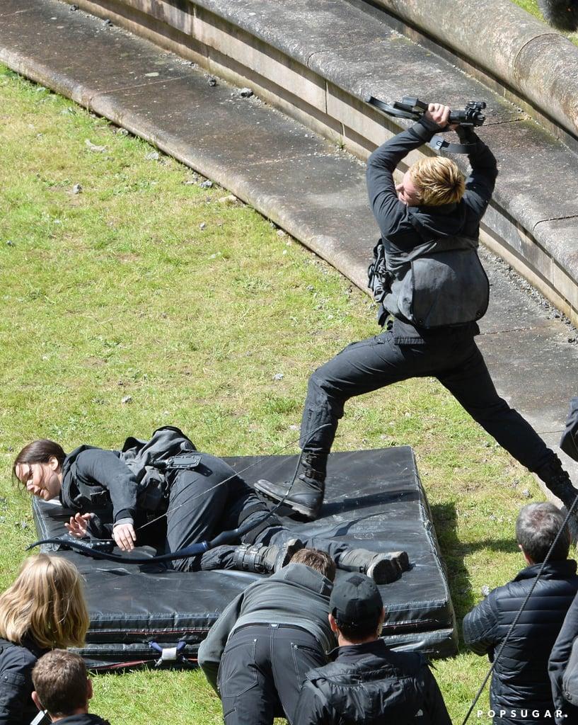 Josh and Jennifer filmed a dramatic scene.