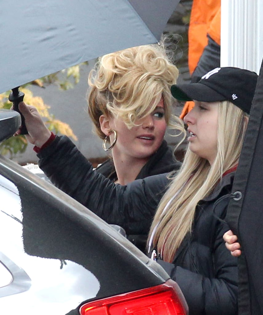 Jennifer Lawrence had her hair in a crazy updo on set.