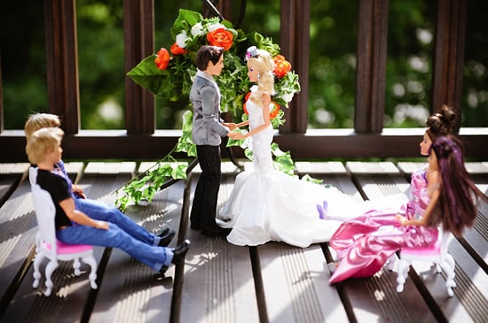 """Barbie and Ken say their """"I dos."""" Photo by BdG Photography via Rock n Roll Bride"""