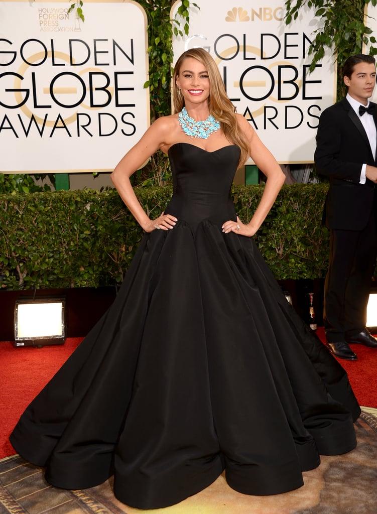 Sofia walked the carpet in a black Zac Posen dress.