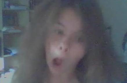 Girl Lipsyncs Techno on Webcam