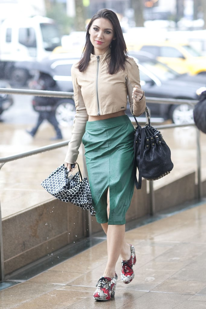 Green leather and a crop top paired up for an eclectic bit of inspiration.