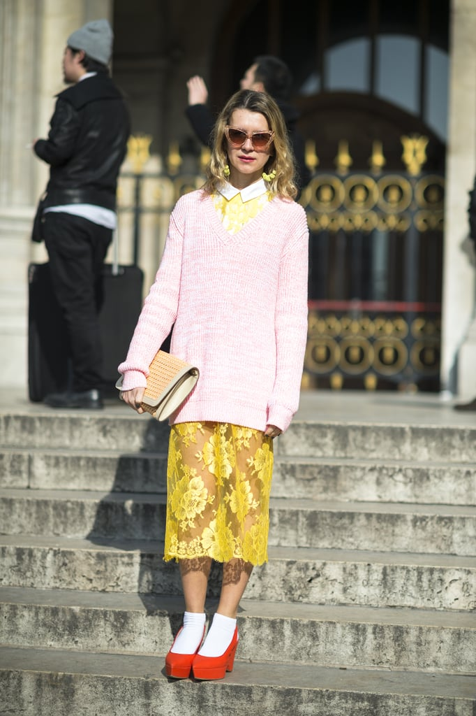 Natalie Joos mixed up pastels and bold primary hues with ease. Source: Le 21ème | Adam Katz Sinding